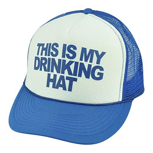 This Is My Drinking Hat Humor Blue White Mens Foam Mesh Trucker Snapback Cap