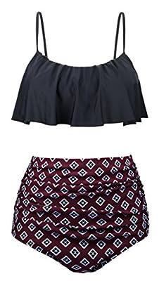 Swiland Womens High Waisted Swimsuits Flounce Top Bathing Suits Swimwear