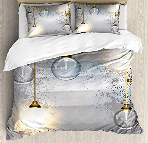 Industrial Decor Duvet Cover Set Steampunk Antique Composition Brass Fastening Round Figures Print Art Theme 3 Piece Decorative Bedding Sets with 2 Pillow Shams Queen Size, Gold Grey White ()