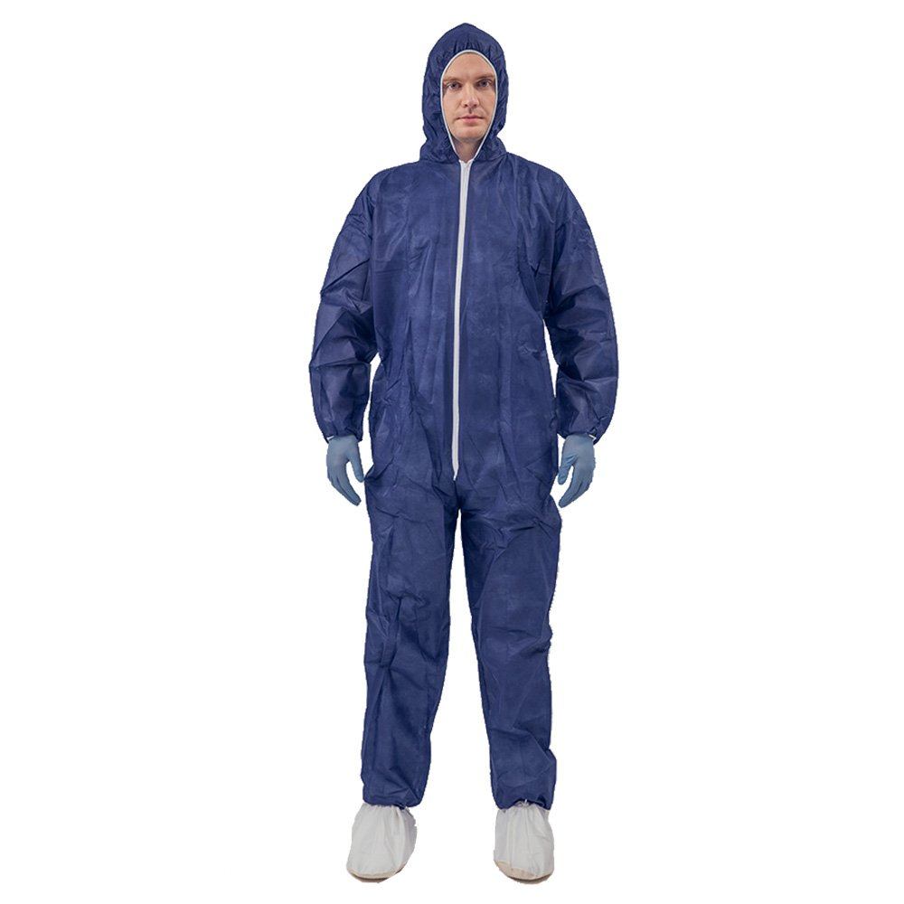 5 Pack Polypropylene PP Disposable Hooded Coveralls Light Duty Suit with Elastic Cuff Ankle and Waist (Large, Dark Blue)