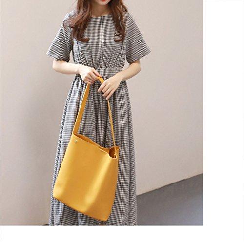 Version capacité Simple épaule Nouvelle Seau d'été Grande Casual fashion Sac Sauvage Grand Mode de bag Sac Vague de la Portable LF Femmes coréenne aUcPqFw1Fp