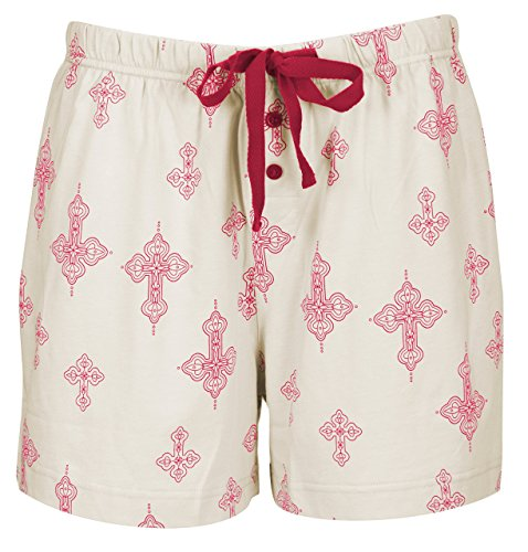 Leisureland Women's Cotton Knit Lounge Pajama Boxer Shorts Cross Khaki ()