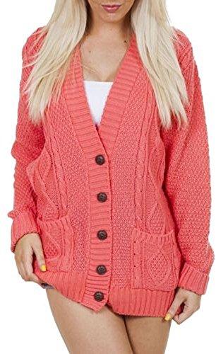 OgLuxe Women's Long Sleeve Cable Knit Cardigan (XXL/XXXL (UK 24-26 EU 52-54 US 20-22), Coral)