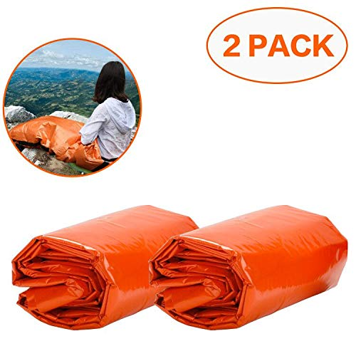 EXTSUD Emergency Sleeping Bag, 2 Pcs PE Survival Sleeping Bag 90 * 210 cm Bivy Bag, Used as Emergency Space Blanket, Lightweight Sleeping Bag, Waterproof Survival Gear for Outdoor, Hiking, Camping