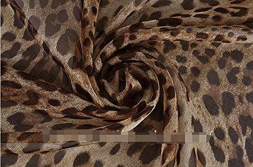 (Lavenz 100x135cm Brown/Orange/Hot Pink/Wine Leopard Printed Silk Chiffon Fabric Nature Silk Fabric)