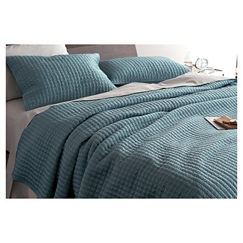 Fieldcrest Tonal Pick-Stitch Satin Queen Size Quilt, Aqua