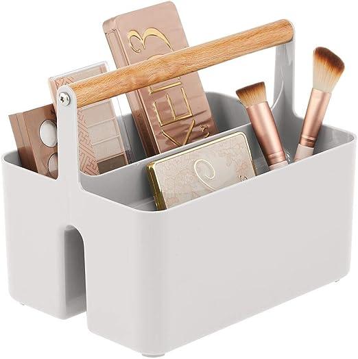mDesign Cesta con asa para el baño – Caja organizadora con 2 ...