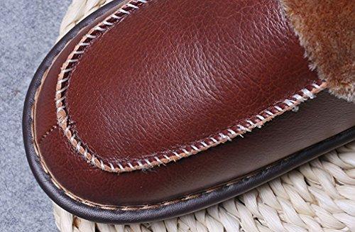 Pantofole Cattior Donne Foderate In Pelliccia Di Cuoio Caldo Pantofole Rosse Casa Pantofole