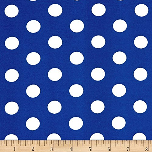 Fabric Merchants Double Brushed Poly Jersey Knit Medium Polka Dot White/Royal Fabric by The Yard,