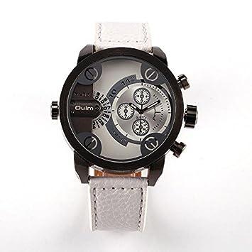 bazar chino Dos zona horaria pantalla cuarzo cuero relojes con diales pequeños sólo con fines de decoración , white: Amazon.es: Deportes y aire libre