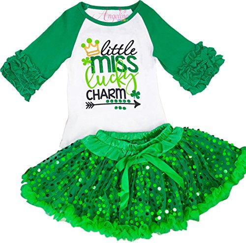 Girls ST Patrick's Day Little Miss Lucky Charm Sequin Skirt Set 3T/S