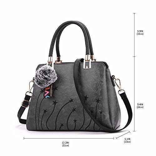 Messenger Handbags Briefcase Womens Bags Tote Retro Grey Vintage BMKWSG Shoulder Casual Lady Leather Soft Capacity Tan Large qpxUz4Aw