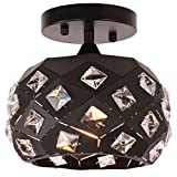 Unitary Brand Modern Black Metal and Crystal Mini Semi Flush Mount Ceiling Light with 1 Bulb Socket 60W Panited Finish
