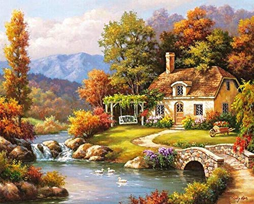 SHUAXIN DIY Oil Painting,Paint by Number Kit,Countryside Cottage Drawing with 3 Brushes 16x20 inch Decor Decorations Christmas Gifts - Cottage Paint Number By