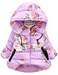 Toddler Baby Girl Boy Floral Print Winter Warm Jacket Hooded Windproof Co
