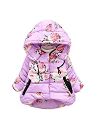 LIKESIDE Baby Girl Boy Floral Print Winter Warm Jacket Hooded Windproof Coat
