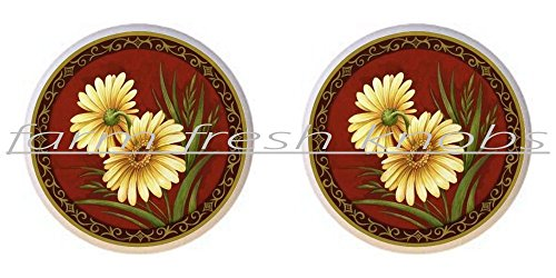 (SET OF 2 KNOBS - Elegant Sunflowers - Flowers Plants Flower Bouquet Floral - DECORATIVE Glossy CERAMIC Cupboard Cabinet PULLS Dresser Drawer KNOBS)