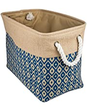 DII Sturdy Burlap, Collapsible, Convenient Storage Bin For Office, Bedroom, Closet, Laundry & More - Medium Rectangle, Blue Ikat