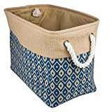 DII Collapsible Burlap Storage Basket or Bin with Durable Cotton Handles, Home Organizational Solution for Office, Bedroom, Closet, Toys, & Laundry (Large – 18x12x15''), Blue Ikat