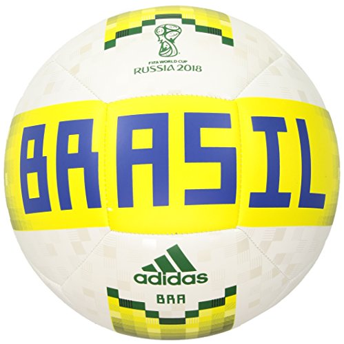 adidas World Cup Soccer Official Licensed Product Brazil Ball, Size 5, White/Clear Blue/Matte Gold