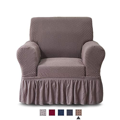NICEEC Armchair Slipcover Coffee Armchair Covers Two-Tone 1 Piece Easy Fitted Sofa Couch Cover Universal High Stretchable Durable Furniture Protector with Skirt Country Style (1 Seater Coffee) (Slipcovers For Armchairs)