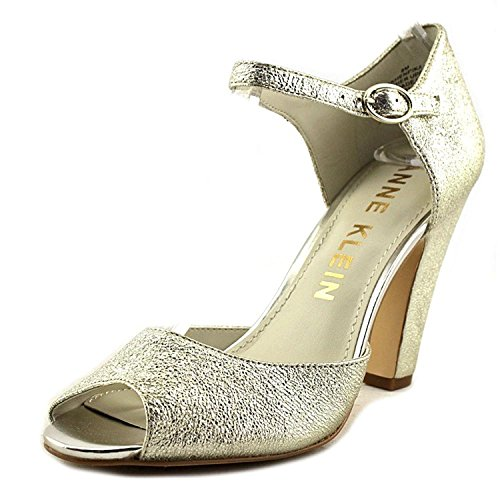 Anne Klein Womens Henrika Leather Peep Toe Ankle Strap D-Orsay, Gold, Size 7.0