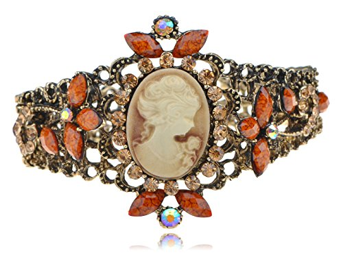 Alilang Womens Antique Brass Tone Shine Topaz Crystal Rhinestones Vintage Inspired Victorian Cameo Lady Cuff Bangle Bracelet ()