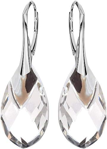 Beforya Paris* Boucles d'oreilles clous en argent 925 avec cristaux  Swarovski Elements – Magnifiques boucles d'oreilles en argent sterling 925  – ...