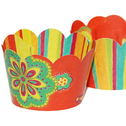 [Retro Luau Flowers and Colorful Stripes, 36 Reversible Cupcake Wrappers, Confetti Couture Party] (Spanish Themed Dress Up Ideas)