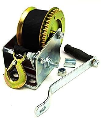 New Heavy Duty Mountable Hand Crank Strap Winch 2000lb for Jet Ski Atv Boat Trailer Light Utility Towing Strap