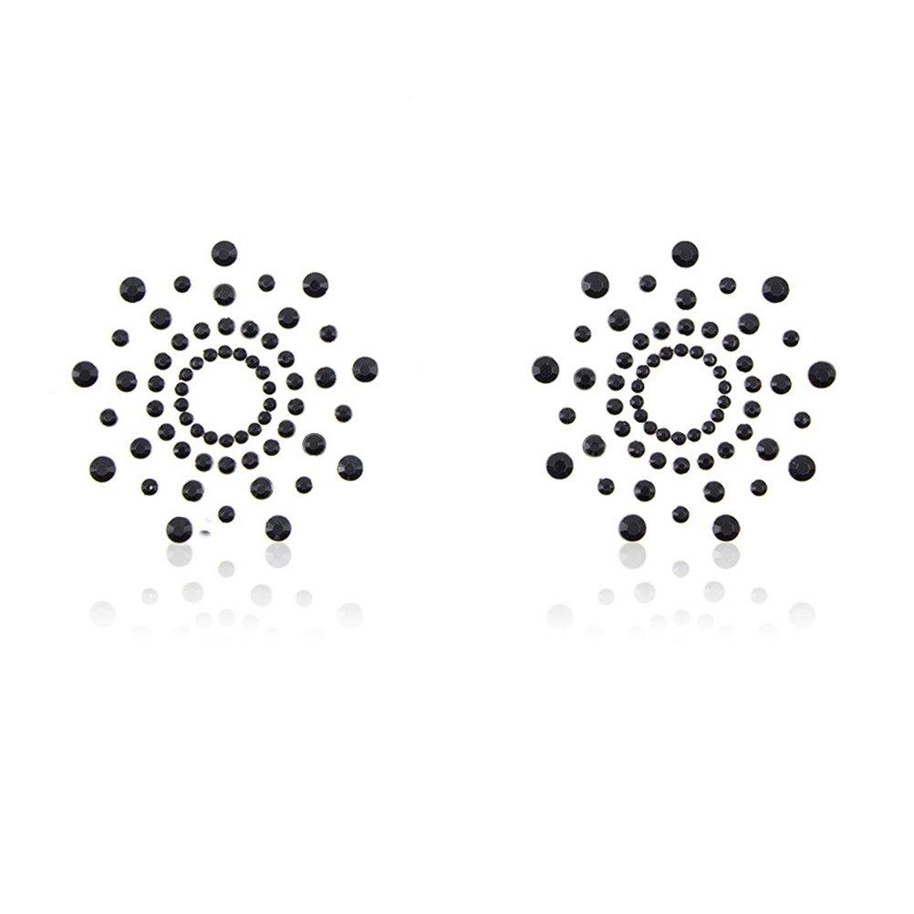 LUOEM Copricapezzoli trasparente con strass nero riutilizzabile