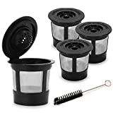 STYDDI 4-Pack Single Reusable K-cups Stainless Mesh Coffee Filter for Keurig, Mr.coffee, Cuisinart, Breville Single-Serve Brewers
