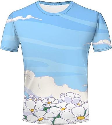 Flor Blanca romantica 3D Impresos Hombre Camisetas Verano de ...