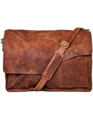 KANZEK 17-18 Leather Laptop Bag/Messenger/Shoulder Satchel for Work, College, and Outdoors - Beautiful Distressed...