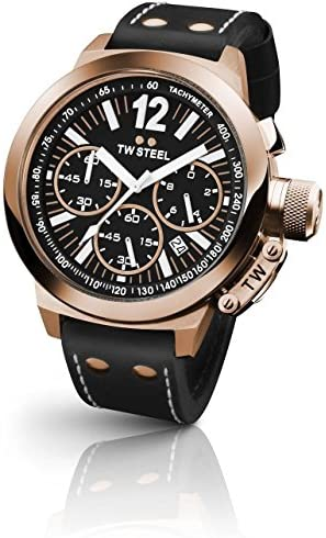 TW Steel Men s Canteen Chronograph Leather Band Watch