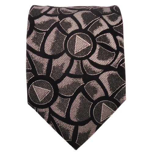 TigerTie Designer Lurex cravate en soie noir doré argent à motifs - cravate en soie
