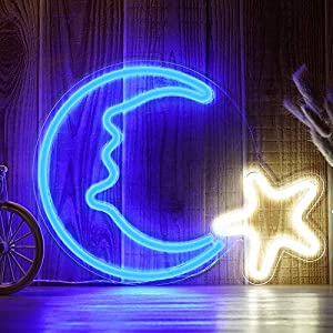 15″ LED Moon Star Shaped Neon Light Decor Christmas Wall Decor Xmas Art Sign Light for Home Decoration, Bedroom, Lounge, Office, Wedding, Christmas Party Operated by USB