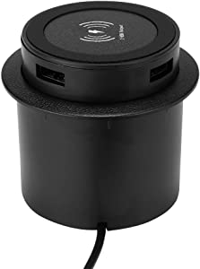 Desk Wireless Charger, DDSKY 18W Fast QI Wireless Charging Station with Table Desk Grommet Hole for iPhone Xs Max/XR/XS/X/8/8 Plus/Samsung Galaxy S10/S10+/S9/S9+/ Huawei and Any Qi Devices