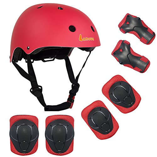 Lanova Kids Adjustable Sports Protective Gear Set Safety Pad Safeguard (Helmet Knee Elbow Wrist) Roller Bicycle BMX Bike Skateboard Hoverboard and Other Extreme Sports Activities (Red) Extreme Activity