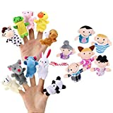 Image of 16 Pack Finger Puppet Set - MANSA 10 Animals + 6 People Family Members Educational Toys for Children, Story Time, Shows, Playtime, Schools