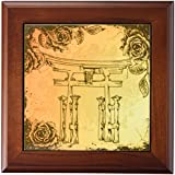 3dRose ft_116374_1 Japanese Style Gate with Vintage Faux Etches Roses Oriental Asian Inspired Art Gift-Framed Tile, 8 by 8-Inch