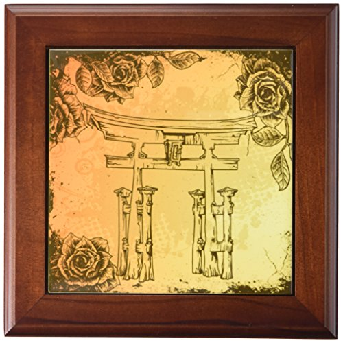3dRose ft_116374_1 Japanese Style Gate with Vintage Faux Etches Roses Oriental Asian Inspired Art Gift-Framed Tile, 8 by (Japanese Inspired Wood)