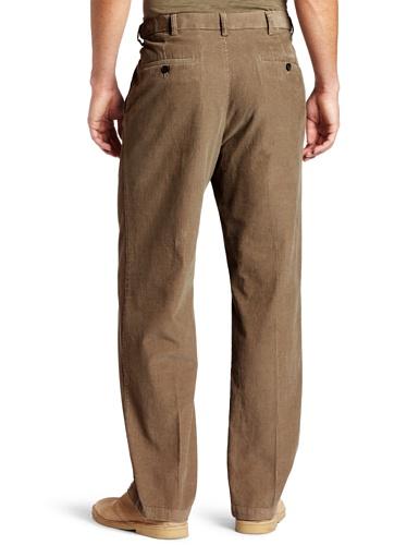 Haggar Mens Work To Weekend Hidden Expandable Waist Corduroy Plain Front Pant, Khaki,34x30