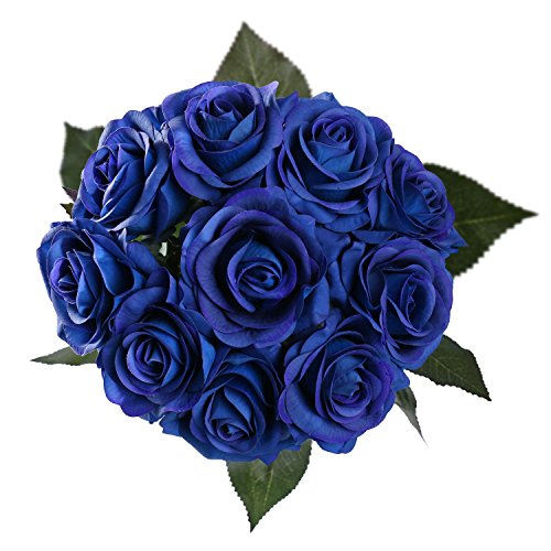 StarLifey Artificial Flowers Real Touch Royal Blue Rose Wedding Bouquet Silk Roses Posy Valentine's Day/Wedding/Home Decorations Pack of 10 (Petal Flower Shape Crown)