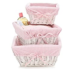 Set of 3 Baby Boy Nursery Storage Baskets White Willow with Blue Cotton Gingham Fabric
