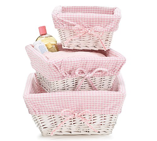 Set of 3 Baby Girl Nursery Storage Baskets - White Willow with Pink Cotton Gingham Fabric