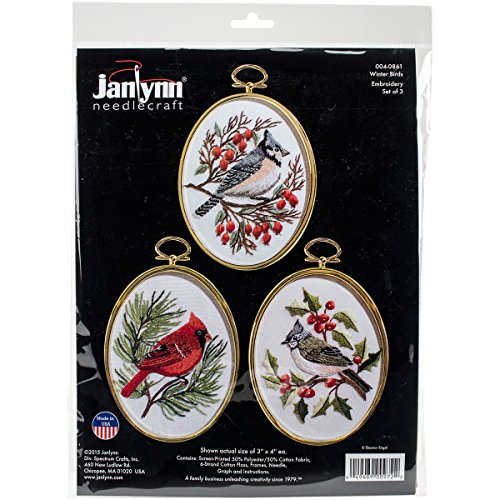 Janlynn 4-0861 Embroidery Kit Winter Birds Stitched In Floss44; 3 x 4 in. - Set of 3