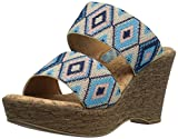 Love & Liberty Women's Sasha-LL Wedge Sandal, Blue, 6 M US