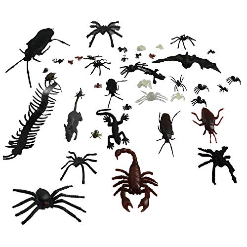 Popmall Scary Halloween Spider, 2018 New Fake Hairy Black Spiders Spider Realistic Toys for Halloween Parties Haunted Outdoor Decor Yard Decorations Decorations (44Pcs Realistic Bugs)