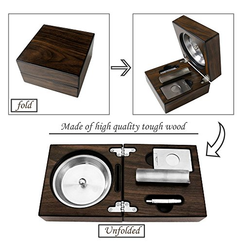 Monsiter Wooden Cigar Ashtray Set with Cigar Cutter Foldable Ashtray